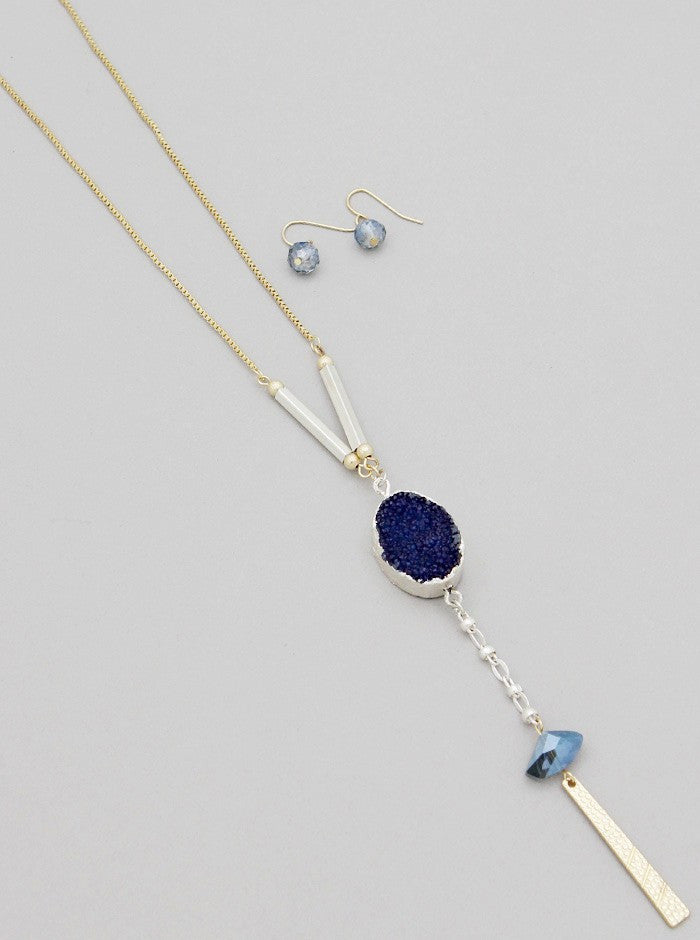 Drusy Natural Drop Necklace Set - Fierce Finds Mobile Boutique  - 2