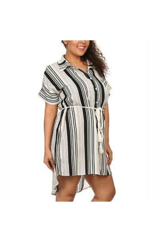 Stripe Rope Belt Plus Dress - Fierce Finds Mobile Boutique  - 1