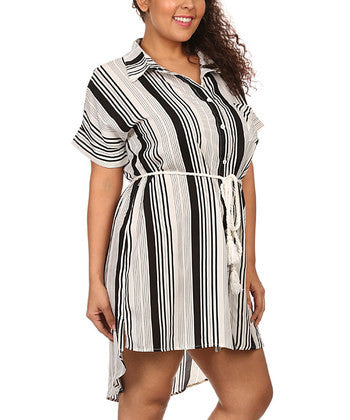 Stripe Rope Belt Plus Dress - Fierce Finds Mobile Boutique  - 2