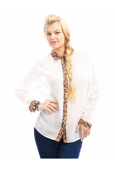 White Animal Print Trim Plus Size Top-Plus Size-Fierce Finds Mobile Boutique