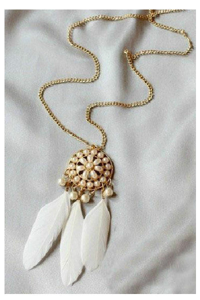 White Pearl Feather Necklace - Fierce Finds Mobile Boutique  - 2