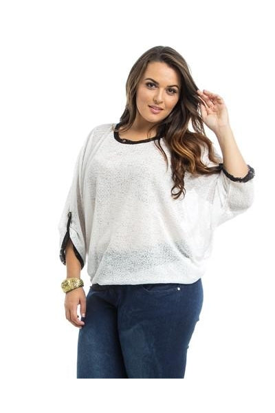 White Dolman Sheer Plus Size Top - Fierce Finds Mobile Boutique  - 2