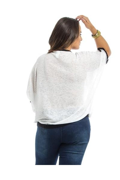 White Dolman Sheer Plus Size Top - Fierce Finds Mobile Boutique  - 4
