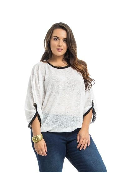 White Dolman Sheer Plus Size Top-Plus Size-Fierce Finds Mobile Boutique