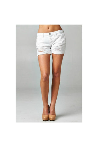 White Summer Ripped Shorts-Womens-Apparel-Pants-Shorts-Fierce Finds Mobile Boutique
