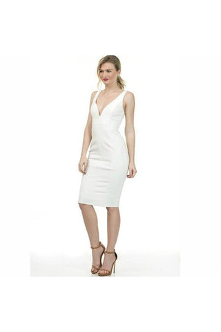 White Zipper Back Midi Dress - Fierce Finds Mobile Boutique  - 1