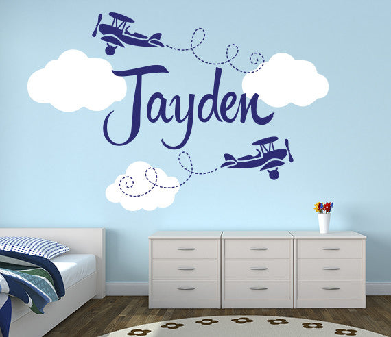 Airplanes Name Wall Decal Decor Art Vinyl Nursery Room | Lovely ...