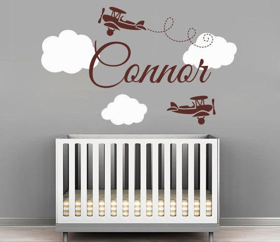 Airplanes Name Wall Decal Art Decor For Nursery Rooms & Airplanes Name Wall Decal Art Decor For Nursery Rooms | Lovely ...