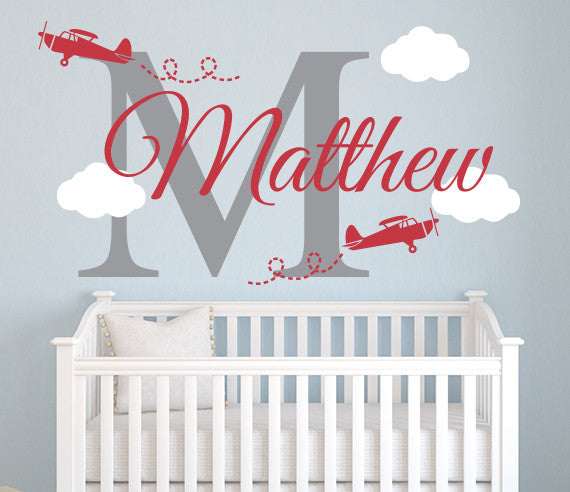 airplane wall decal name nursery room decor art sticker lovely