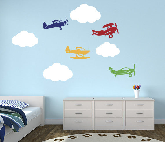 Airplanes Wall Decal Art Vinyl Decor For Nursery Rooms  sc 1 st  Lovely Decals World & Elephant Family Wall Decal Nursery Art Decor Vinyl | Lovely Decals World