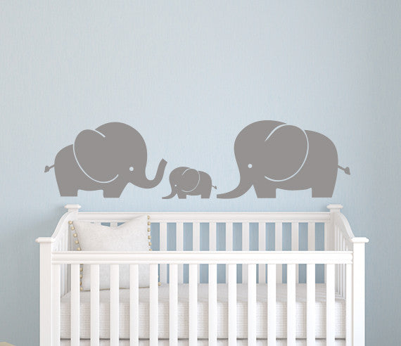 elephant family wall decal nursery art decor vinyl | lovely decals world