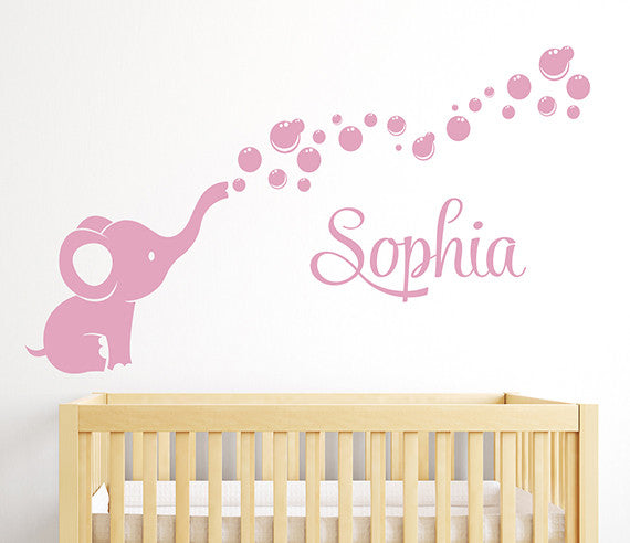 Charmant Elephant Bubbles Name Wall Decal