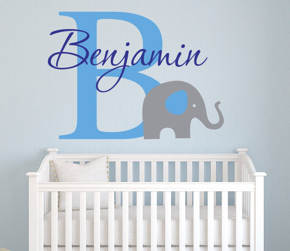 Elephant Wall Decal Boys Custom Name Art Decor Vinyl  sc 1 st  Lovely Decals World & Elephant Wall Decal Boys Custom Name Art Decor Vinyl | Lovely Decals ...