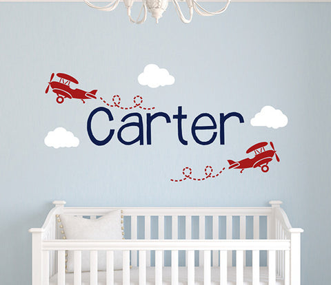 Planes Wall Decal Name Nursery Room Art Decor Vinyl  sc 1 st  Lovely Decals World & Airplane Wall Decals Collection - Lovely Decals World