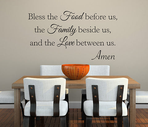Bless The Food Before Us Wall Decal Quote Dinning Room Decor