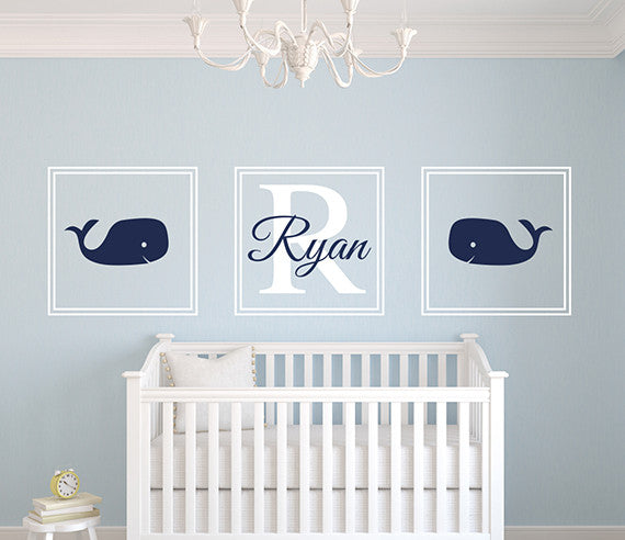 Whale Name Wall Decal  sc 1 st  Lovely Decals World & Whale Wall Decal Square Name Nursery Art Decor Vinyl | Lovely Decals ...