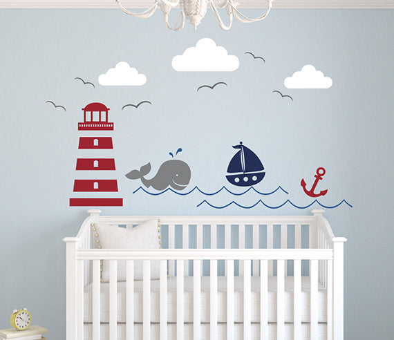 Nautical Theme Wall Decal Boys Nursery Decor Art Vinyl  sc 1 st  Lovely Decals World & Nautical Whale Wall Decal Boys Name Art Decor Vinyl | Lovely Decals ...