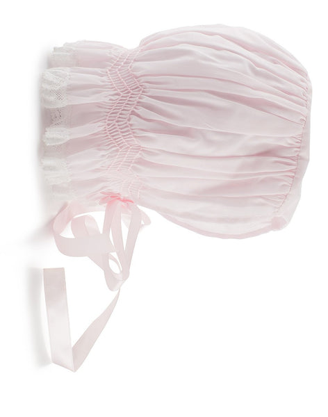 Feltman Bonnet with Lace and Smocking in Pink and White