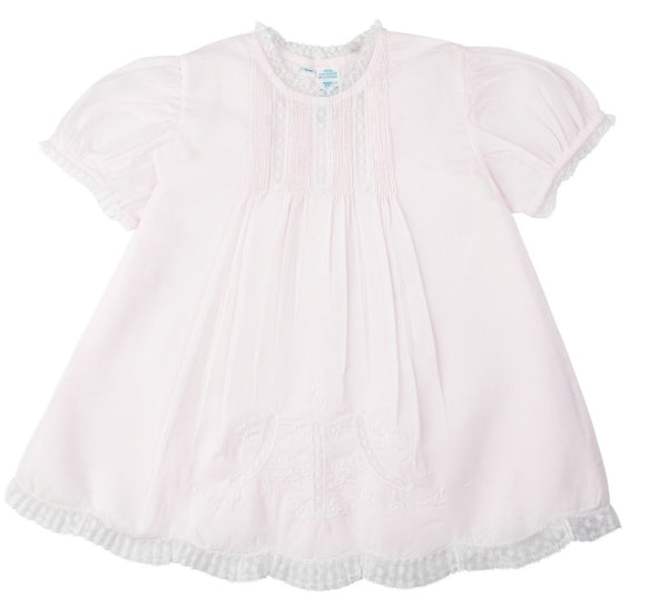Feltman Brothers Girl's Slip Dress with Pintucks and Lace in Pink