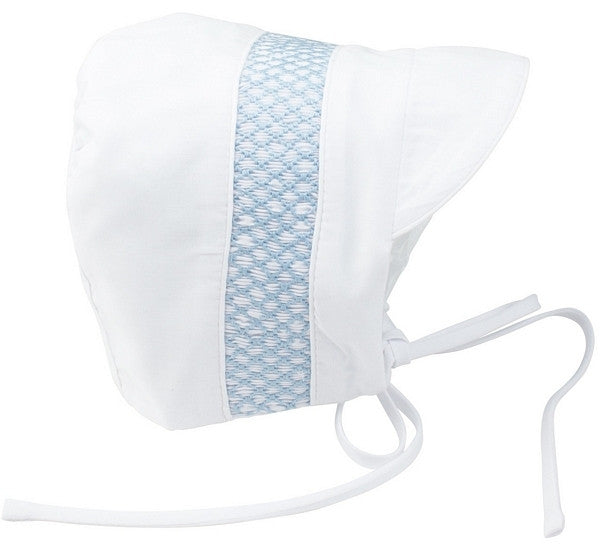 Feltman Boy's Bonnet White with Blue