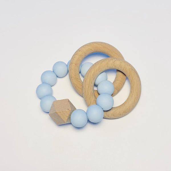 Silicone + Beechwood Teether- Gem - Blue