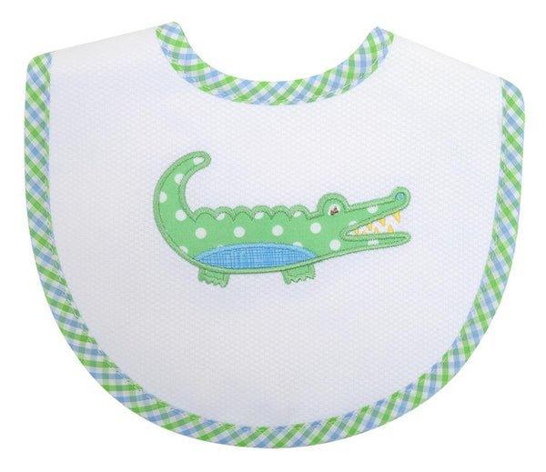 3 Marthas Applique Bib in Gator Blue