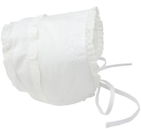 Feltman Bonnet with Lace and Embroidery