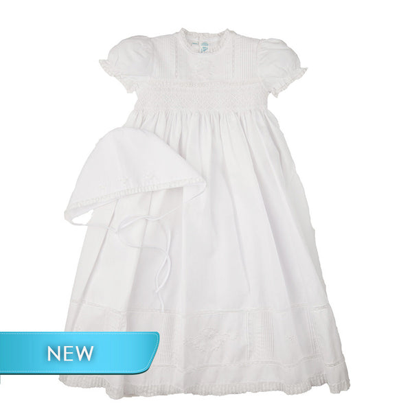 Feltman Girl's Special Occasion Smocked Gown- Short Sleeve
