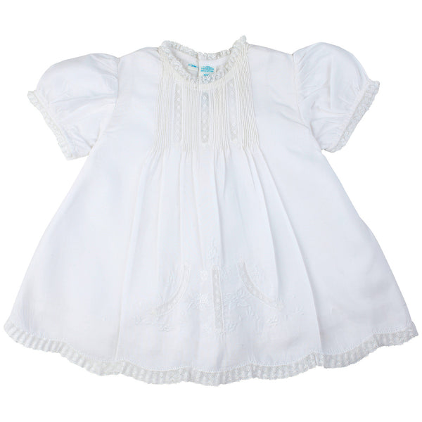Feltman Brothers Girl's Slip Dress with Pintucks and Lace in White