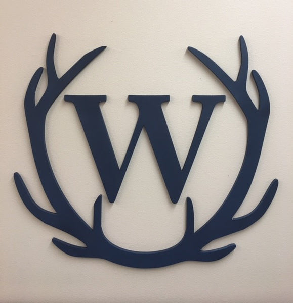 Large Wooden Antlers + Single Block Letter
