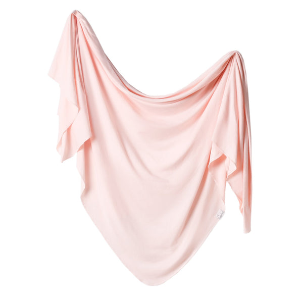 Copper Pearl Knit Swaddle Blanket Blush