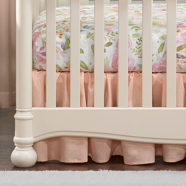 "Liz & Roo 16"" Gathered Crib Skirt Peach Linen"