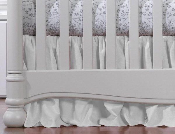"Liz & Roo 17"" Gathered Crib Skirt White Woven"