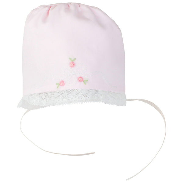 Feltman Bonnet with Embroidery and Lace in Pink