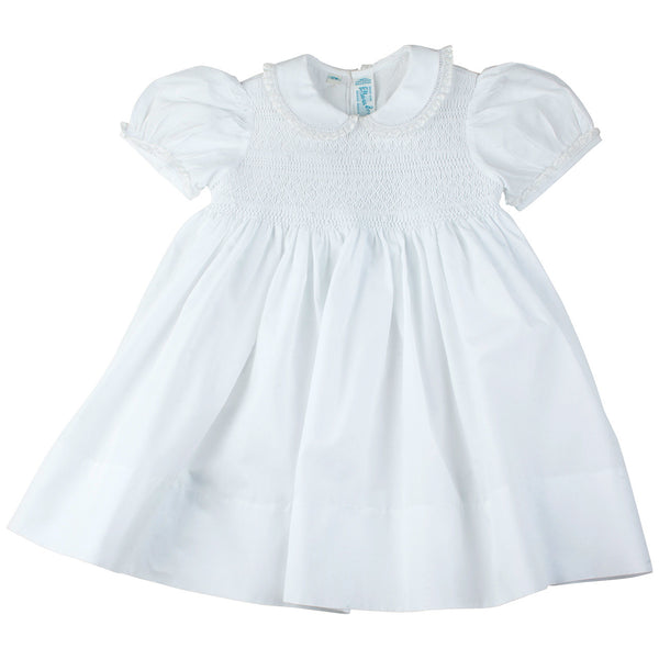 Feltman Brothers Girl's Smoked Dress with Lace Trim in White