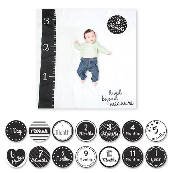 Lulujo Milestone Blanket and Card Set- Black and White