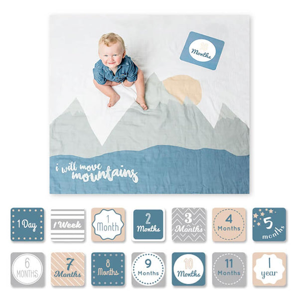 Lulujo Milestone Blanket and Card Set- Move Mountains