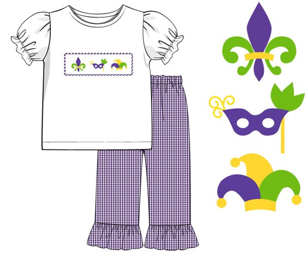 Mardi Gras Girls Smocked Two Piece Set