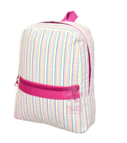 Oh Mint! Backpack in Rainbow Seersucker