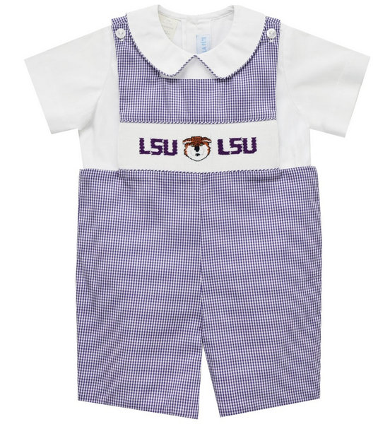 Vive la Fete LSU Smocked Boys Shortall- New Tiger Smocking