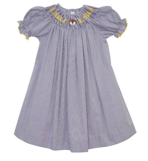 Vive la Fete LSU Smocked Dress- New Tiger Smocking
