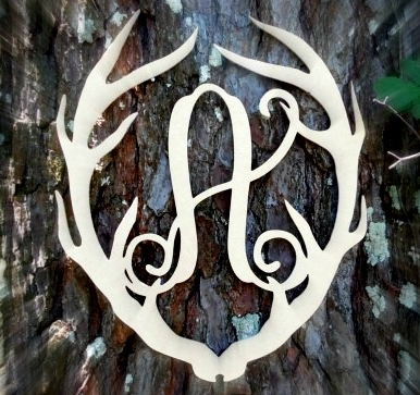 Unfinished Antler Monogram Vine Letter
