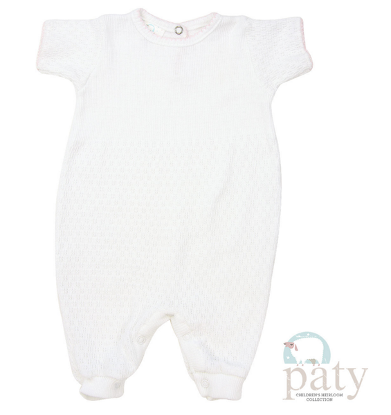 Paty SS Keyhole Back Romper in White with Light Blue Trim