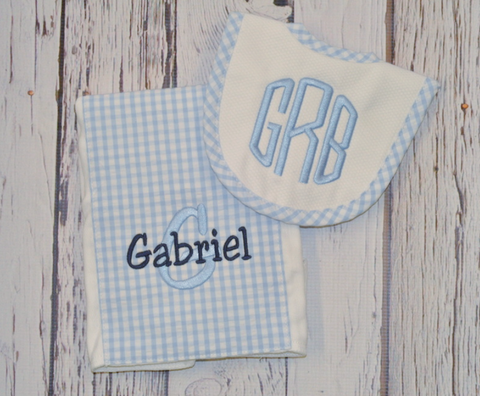 3 Marthas Drooler Bib Set in Blue Gingham