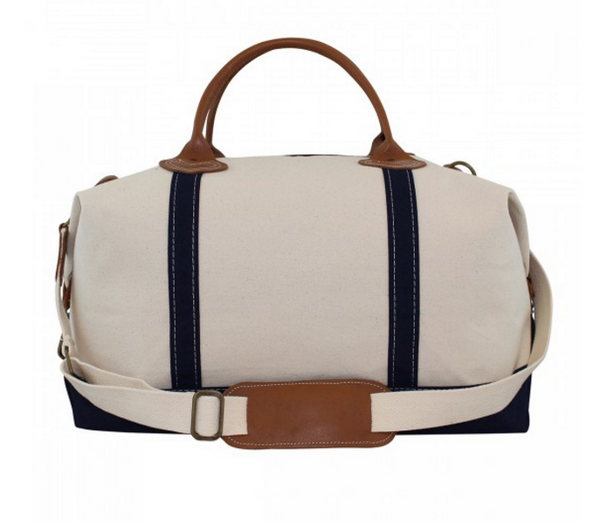 Canvas Weekender with Navy Trim
