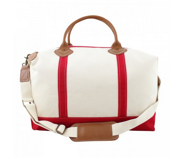 Canvas Weekender with Red Trim