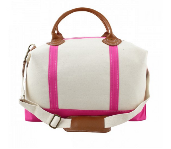 Canvas Weekender with Hot Pink Trim
