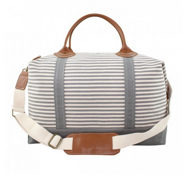 Canvas Weekender in Gray Stripes