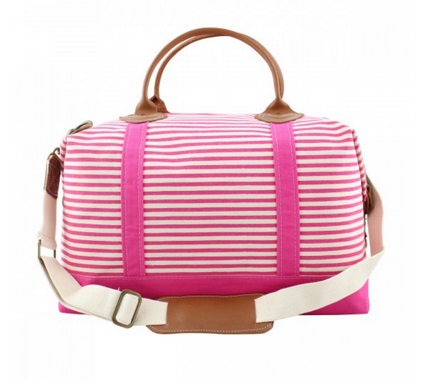 Canvas Weekender in Hot Pink Stripes