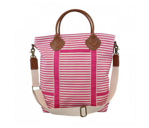Flight Bag in Hot Pink Stripes